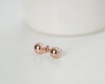 Rose Gold Earrings, Rose Gold Ball Studs, Wedding Earrings, Bridal Earrings, Rose Gold Earrings, Everyday Earrings, Bridesmaid Earrings