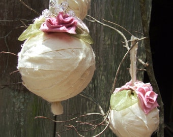 Rag Ball Ornaments, Country Cottage Christmas décor, Baby's first Christmas ornament, Yule decorations, muslin ribbon decor