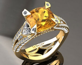 Yellow Sapphire Engagement Ring Yellow Sapphire Ring 14k or 18k Yellow Gold Matching Wedding Band Available W31YSY