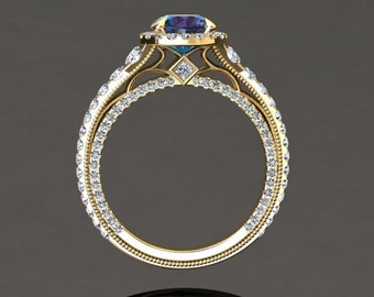 Alexandrite Halo Engagement Ring Alexandrite Ring 14k or 18k Yellow Gold Matching VS2ALEXY