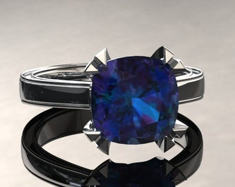 Alexandrite Engagement Ring Cushion Cut Alexandrite Ring 14k or 18k White Gold Matching Wedding Band Available W26SALEXW