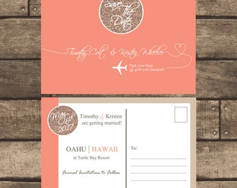 Printable Destination Save the Date w/ Rose Gold Glitter