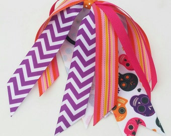 Sugar skull hair ribbon streamers, skull bow with ponytail, streamer bow, Day of the Dead bow, Halloween hair bow, orange pink Calavera bow