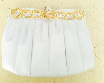 Vintage White and Gold Evening Clutch