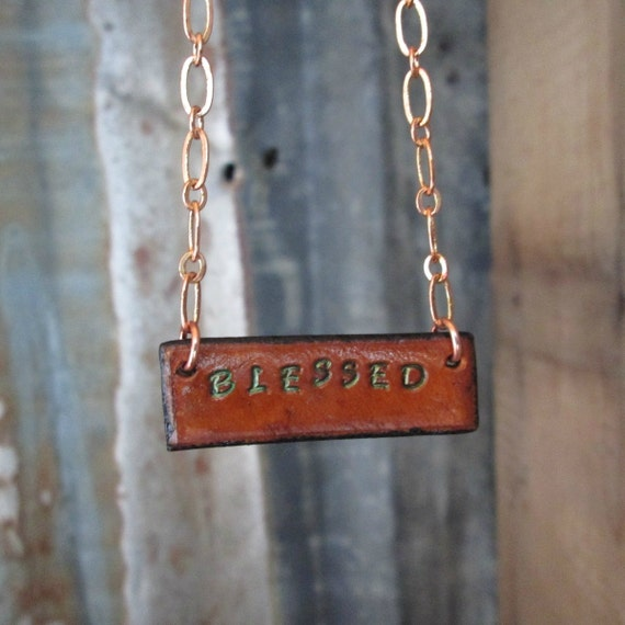 Leather Necklace, Stamped Necklace, Bar Necklace, Blessed