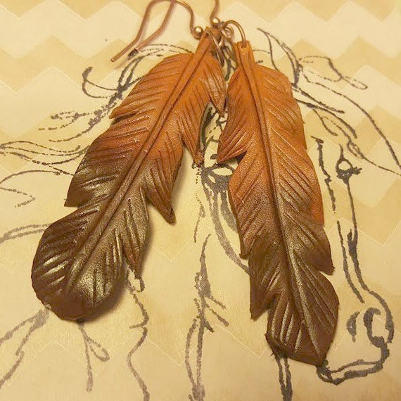 Leather Feather Earrings, Feather Earrings, Gypsy Style Earrings, Boho Style Earrings