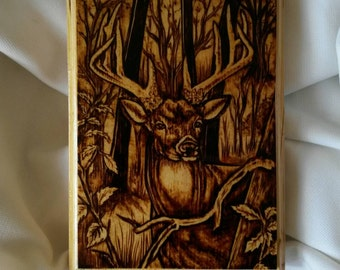 Buck in forest Deer wood burning pyrography plaque