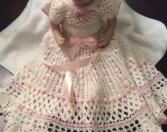Hand Crochet yoked baby dress and headband, christening dress, baptism gown, baby party dress, crochet baby blessing gown, hand crochet baby