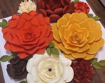 8 set-paper flowers-fall decor- harvest- home decor- - wall decor- backdrop- customize your colors!!