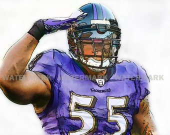 New Terrell Suggs, Baltimore Ravens, NFL, Original and Limited Art Print, Signed & Numbered by the Artist, Includes Seal of Authenticity.