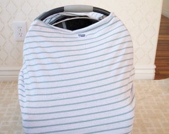 Seafoam Striped Car Seat/Nursing Cover
