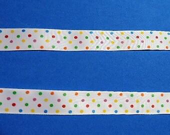 Multi colored polka dot ribbon - 5 yards