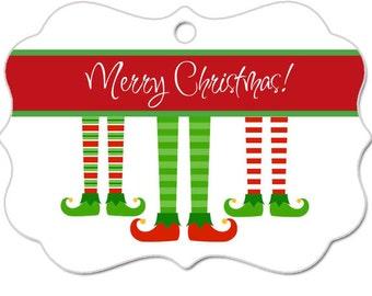 Christmas Ornament-Custom-Personalized- Family Ornament- Kids Ornament-Elf Feet