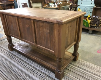Kitchen Island Turned Leg Cabinet Buffet Sideboard Rolling Cart Rustic