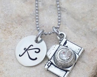 Photographer - Photographer Necklace - Photographer Jewelry - Camera Jewelry - Initial Jewelry - Wedding Photographer - Photographer Gift