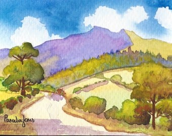Original Watercolour, landscape, Country Road, The Brecon Beacons, Wales, UK, 8ins x 6ins, Gift Idea, Art and Collectibles