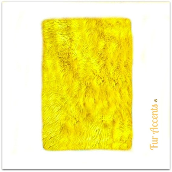 Soft Faux Fur Area Rug Yellow Shaggy Shag Fake Fur By