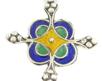 Old, vintage Silver and Enamel Moroccan Berber Pendant. Free shipping worldwide!