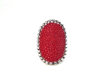 pink red  Stingray leather ring