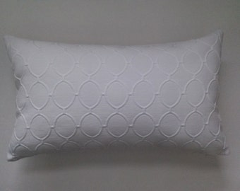 White Lumbar Pillow Cover, Upholstery White Decorative Pillow Cover