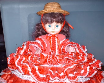 Vintage Red Ruffled Handsewn Bed Doll Pillow