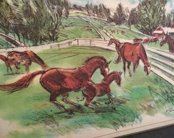 Vintage horse farm, Kentucky placemat, Exxon Esso