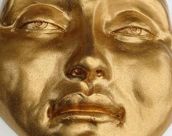 Golden Zen Garden Buddha Face Sculpture, Cast Stone Outdoor Decor
