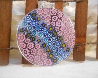 36mm Authentic Murano Glass Millefiori Pendant 925 Italian Sterling Silver - Rainbow 2