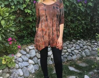 Plus size tunic top, tunic tops,  plus sizes, tie dye, Womens Tunic, Brown, Rust w/black 2X 3X, Round Neck