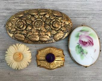 SALE! antique brooch sash pins lot Victorian Parts edwardian deco nouveau jewelry gf vintage destash e67