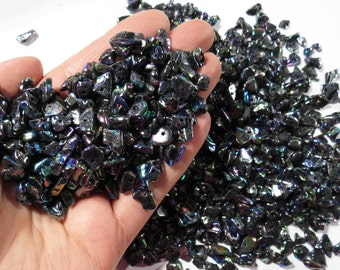 160 Grams Loose  Black AB Finish Glass Chip Beads, Jewelry Making Supplies, Drilled Glass Chip Beads, Black Glass Chip Bead Strands