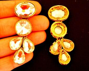 1 x Crystal Applique, Crystal Cabochon, Gold Applique - 140316A4
