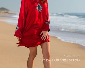 Tunic, Kaftan, Cotton silk, Summer wear, resort wear, embroidered tunic