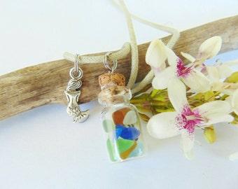 Sea Glass Vial Necklace - Beach Glass - Mermaid Tears