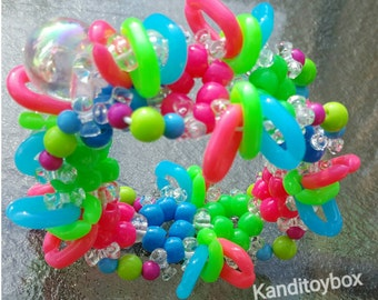 Neon pink, green and blue kandi cuff rave bracelet