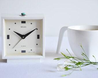 Vintage White USSR Sevani Alarm Clock