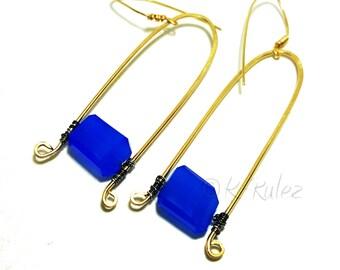 Chalcedony earrings, Grade AAA Blue Chalcedony earrings. 14K Gold filled wire wrapped earrings,  gift for her