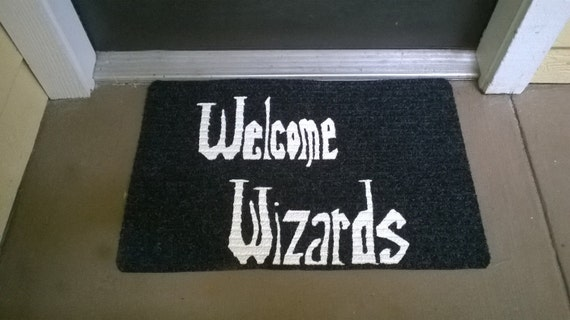 Welcome Wizards Mat by NerdPhrases