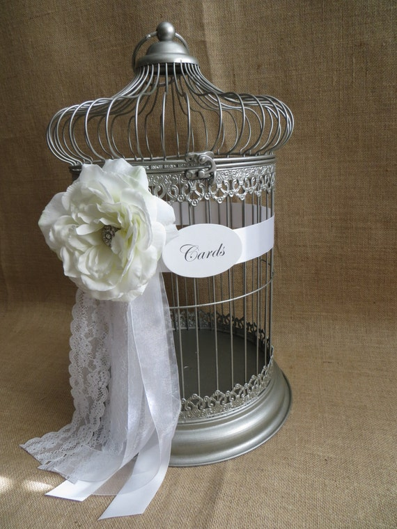 Silver Wedding Gift Card Holder : Silver Wedding Bird Cage Card Holder, 25th Anniversary, Wedding Money ...