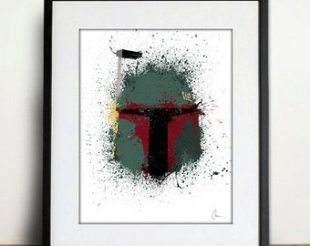 Original Boba Fett Art Print - Home Decor, Splatter Art Print