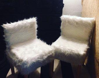 Faux Fur Chair Slip Covers for Ikea Latt Table/Chair Set