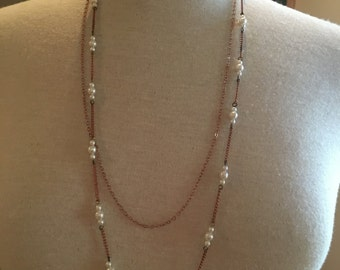 Double rose gold and pearl chain necklace