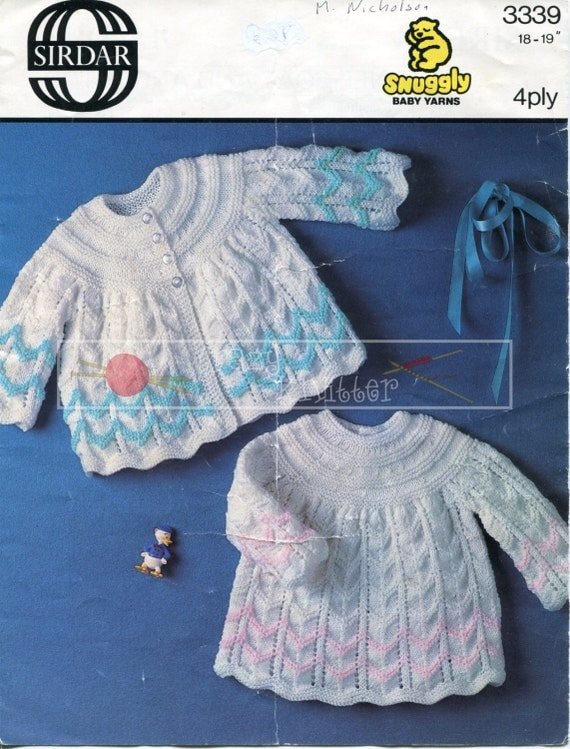 """Baby Matinee Coat & Angel Top 18-19"""" 4-ply Sirdar 3339 Vintage Knitting Pattern PDF instant download"""