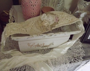Shabby Couture Wearable Art Mixed Media Head Wrap or Sash Beach Wedding Cottage Chic