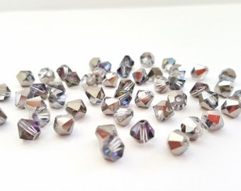 Gray Electroplated Bicone Crystal Beads.  6mm in Size.  50 Beautiful Crystal Beads.  Very Glitzy and Glam!!