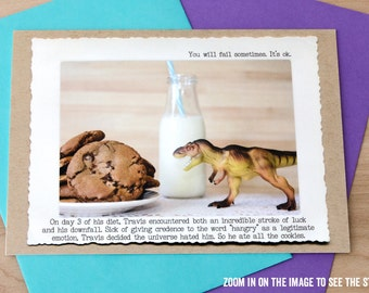 Trex Funny Greeting Card • Card for Foodies •Humor Gifts • Blank Greeting Cards • Cards for Cookie Lovers • Humous Trex Card • All Occasion