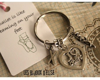 Personalized Ballet Charm Keychain Antique Silver I Love Ballet Keychain