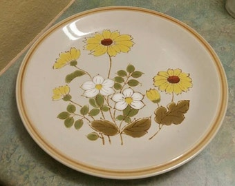 On Sale Montrose Genuine Stoneware 12 inch Serving Platter or Large Plate Spring Flower Pattern Oven Proof Plate