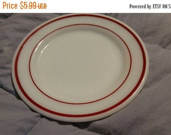 On Sale Corning Ware 7 Luncheon Plate Milk Glass with Ruby Red Band by Pyrex Glass