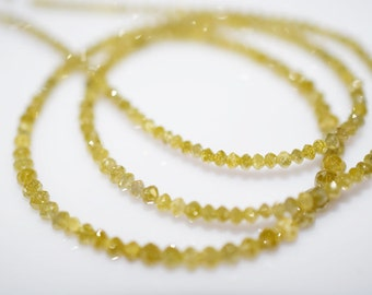 17.30ct very beautiful Light YELLOW DIAMOND Rondelle Faceted Beads, Natural Yellow Diamond Beads 14 inch strand D-3